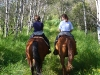 My niece and nephew on a trail ride